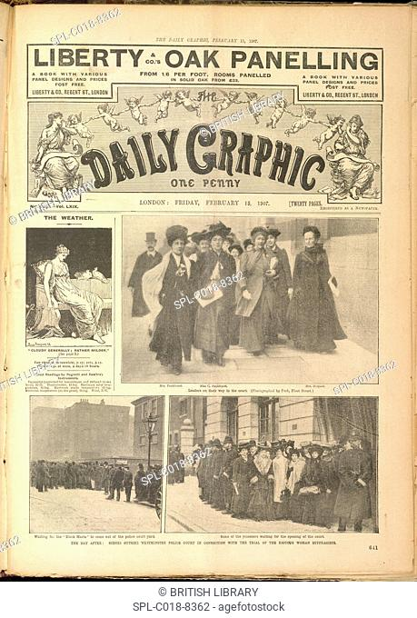 Suffragettes, The day after: scenes outside Westminster Police Court in connection with the trial of the riotous woman suffragists
