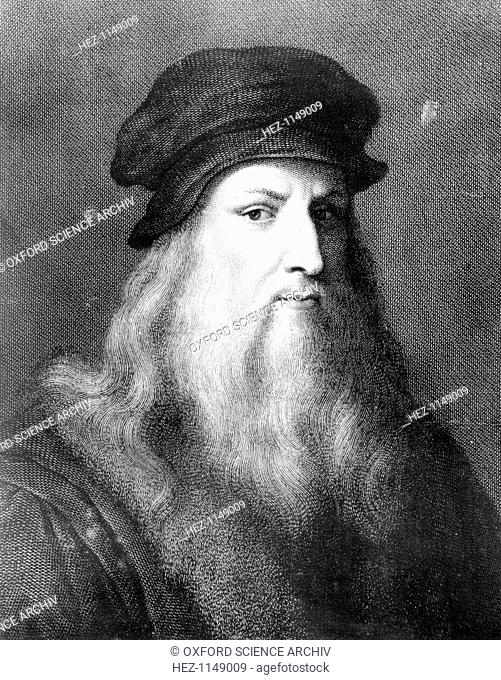 Leonardo da Vinci, Italian artist, engineer, scientist and inventor whose drawings featured ideas such as a spinning wheel and a flying machine