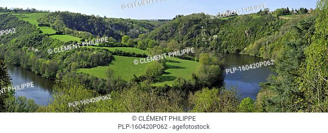 Forests and meadows with hedges along meander of the Creuse River, Indre, France