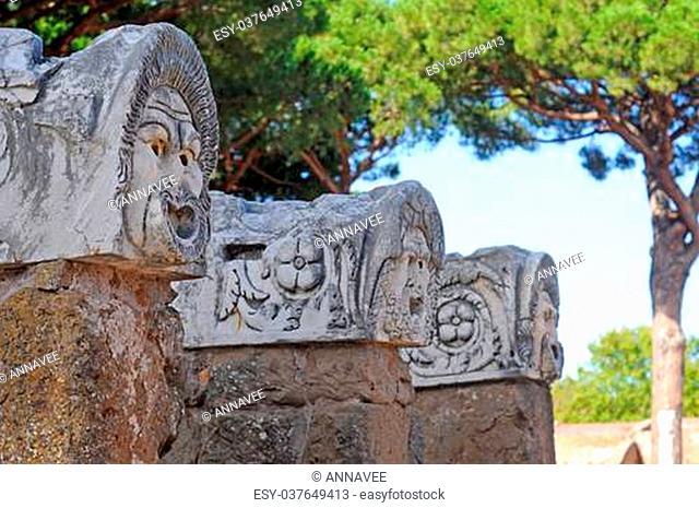 ancient sculptures in ostia antica, rome, italy, europe