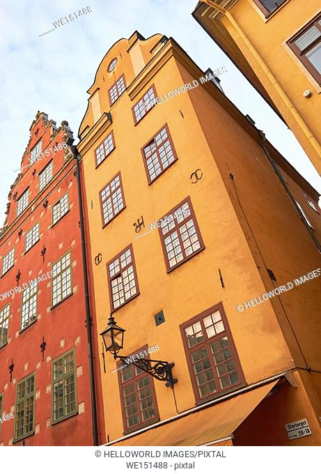 Colourful houses in Stortorget, the main square of Gamla Stan, Stockholm's old town, Sweden, Scandinavia