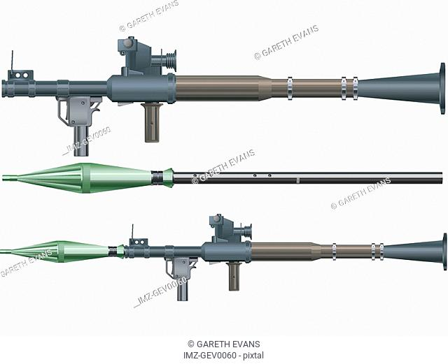 A handheld anti-tank RPG-7 rocket-propelled grenade launcher