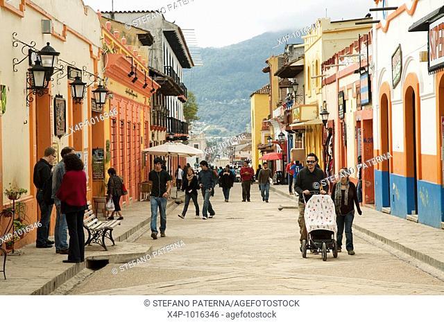 Pedestrian Street Real de Guadalupe  San Cristóbal de las Casas, Chiapas Mexico