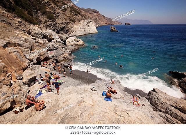 View to the Agia Anna beach, Amorgos, Cyclades Islands, Greek Islands, Greece, Europe