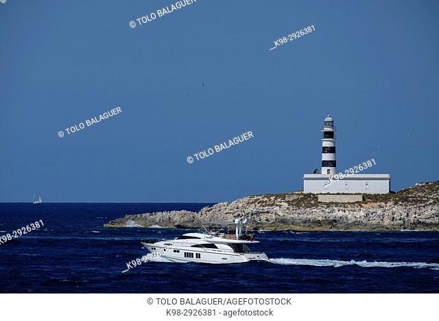faro des Penjats (lighthouse), isla de Es Penjats, es Freus, reserva marina del parque natural de Ses Salines, Ibiza, Balearic Islands, Spain