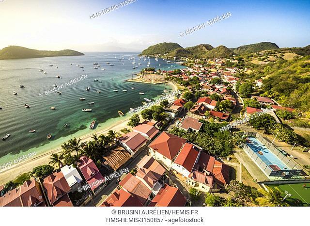 France, Caribbean, Lesser Antilles, Guadeloupe, Les Saintes, Terre-de-Haut, aerial view on the bay of the town of Terre-de-Haut