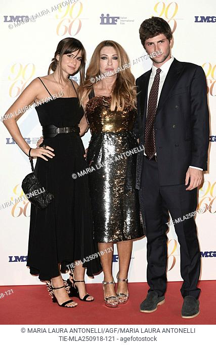 Paola Ferrari with children Virginia and Alessandro De Benedetti during red carpet of 60/90 party, for 60 years of career and ninetieth birthday of Fulvio...