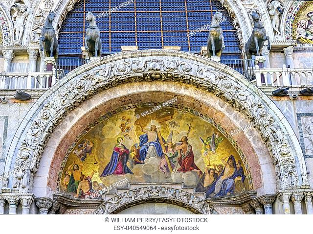 Christ Resurrection Mosaic Ancient Horses Saint Mark's Basilica Venice Italy. Church created 1063 AD, Horses are replicas of ones taken from Constantinople in...