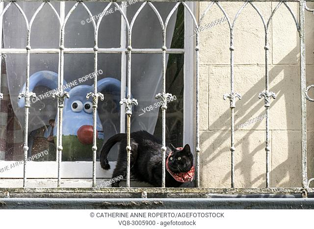Nick Park's Clifton High School gromit, 'Polygrom', and Sparky the cat with loopy ears and tail and surprised eyes on a balcony in Bristol, England