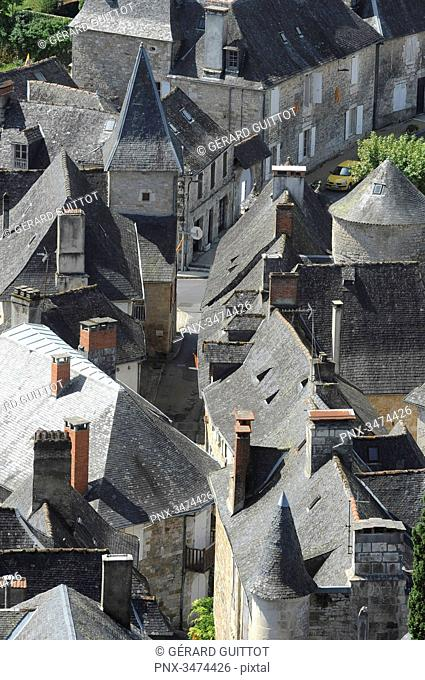 France, Center of France,Panorama of Turenne, aerial view of the village of Turenne as seen from the castle