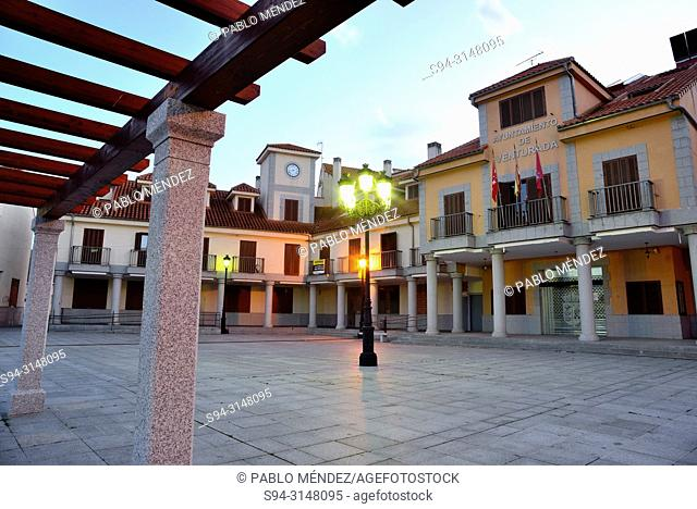Town Hall square of Venturada, Madrid, Spain