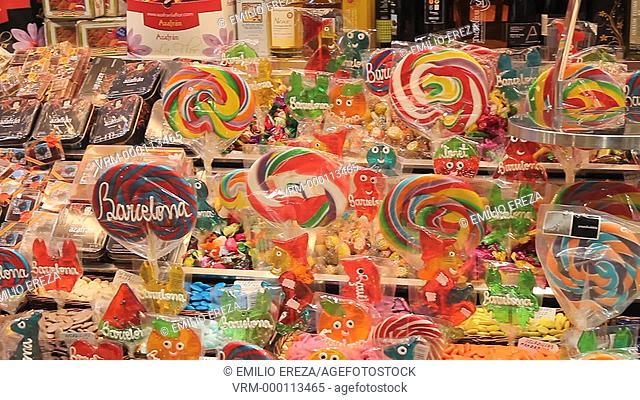 Lollipops and souvenirs. La Boqueria Market. Barcelona, Catalonia, Spain