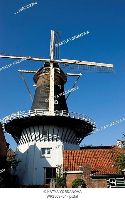 Front view of a Dutch Windmill. This is an image of a front view of a typical Dutch Windmill