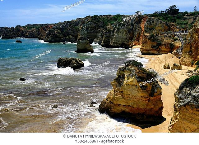 Europe , Portugal , Algarve , Western Algarve , Faro district , Lagos, famous Dona Ana beach one of most beautiful beaches in Portugal