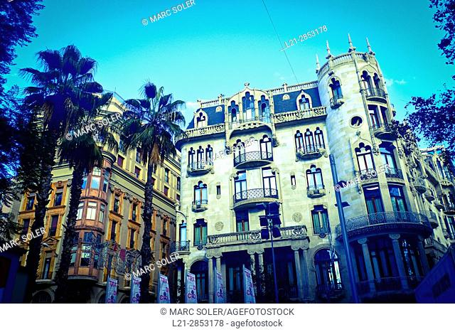 Hotel Casa Fuster, 1908-1910. Designed by Lluís Domènech i Montaner architect. Gracia quarter, Barcelona, Catalonia, Spain