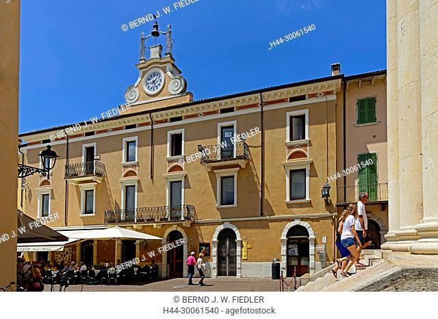 Europe, Italy, Veneto Veneto, Bardolino, Piazza Giacomo Matteotti, street view, Parrocchia S.S. Nicolò E Severo, place of interest, tourism, street