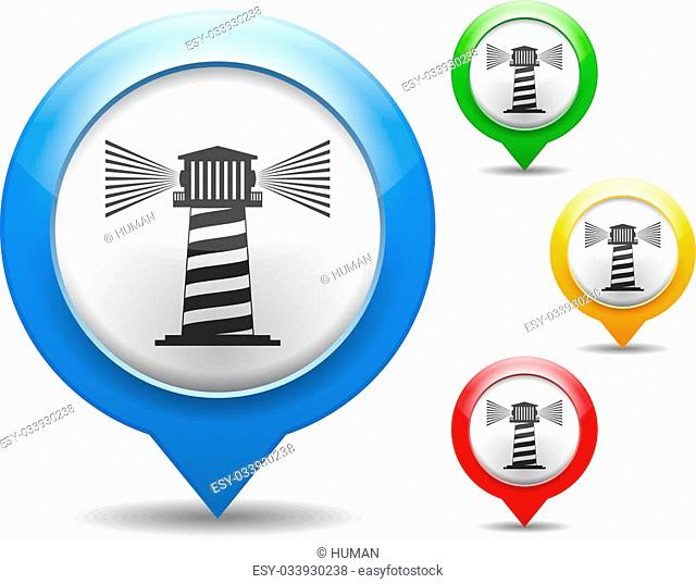 Map marker with icon of a lighthouse, vector eps10 illustration