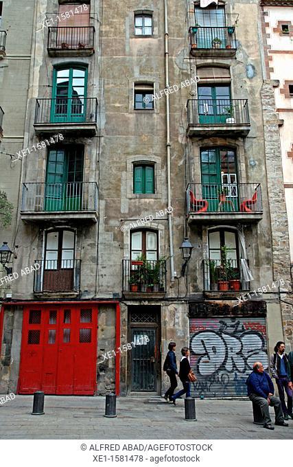 homes, Sant Just square, Gothic Quarter, Barcelona, Catalonia, Spain
