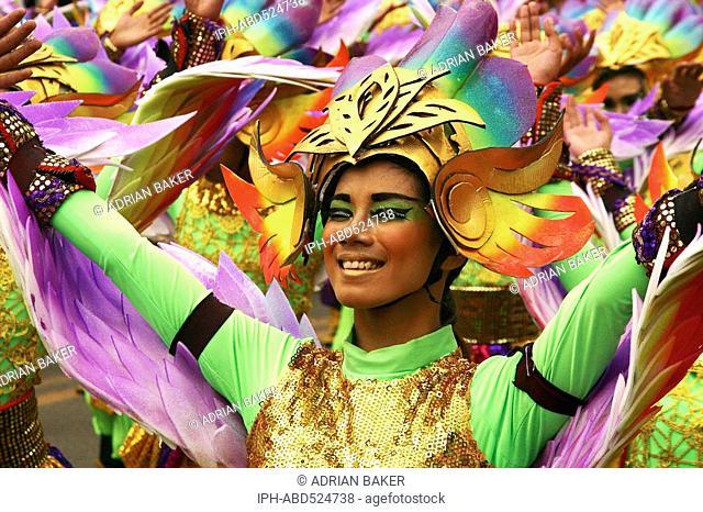 Philippines Cebu Cebu City Sinulog festival. Dancers in the street parade