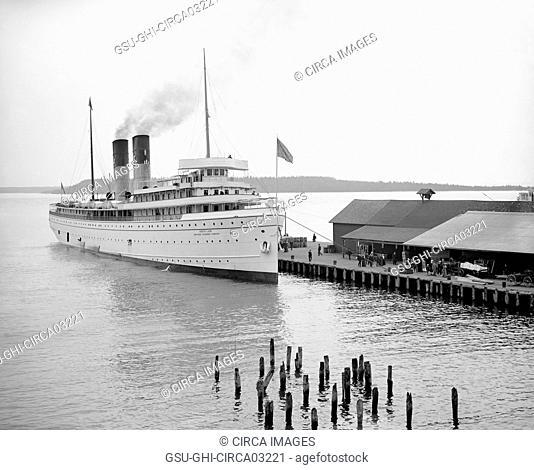 Steamship North Land at Dock, Mackinac Island, Michigan, USA, Detroit Publishing Company, 1900
