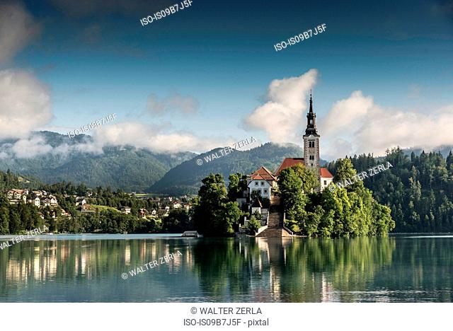 View of church on Bled Island, Lake Bled, Slovenia