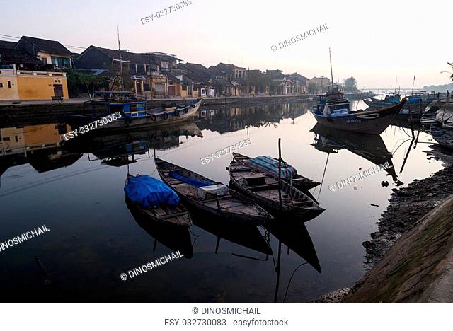 The harbor of Hoi An before sunrise. Hoi An is an UNESCO World Heritage site in Vietnam