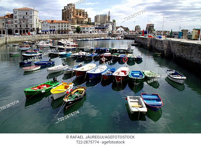 Castro Urdiales (Cantabria) Spain. Fishing port of the town of Castro Urdiales