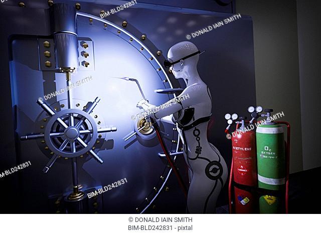 Robot woman using blowtorch on vault door