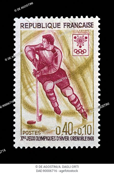 Postage stamp commemorating 10th Olympic Winter Games Grenoble, 1968, depicting Ice hockey. France, 20th century
