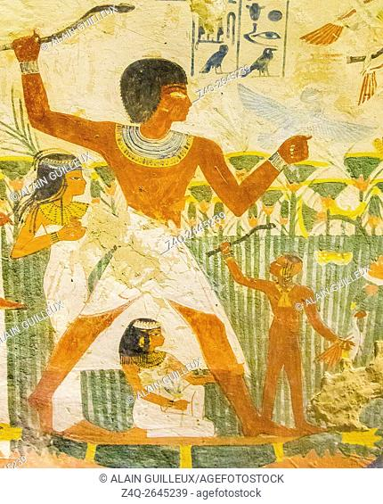 UNESCO World Heritage, Thebes in Egypt, Valley of the Nobles, tomb of Nakht. A famous scene, hunting in the marshes