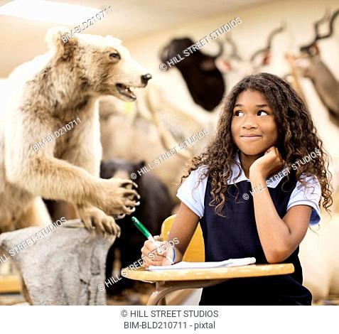 Student taking notes by stuffed bear in museum