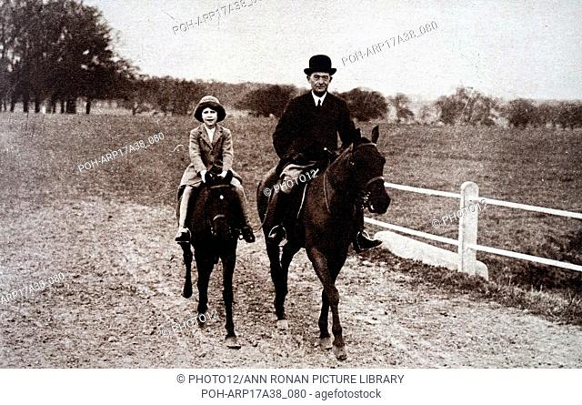 Photograph of Princess Elizabeth (1926-) during a riding lesson in the Park at Windsor. Dated 20th Century