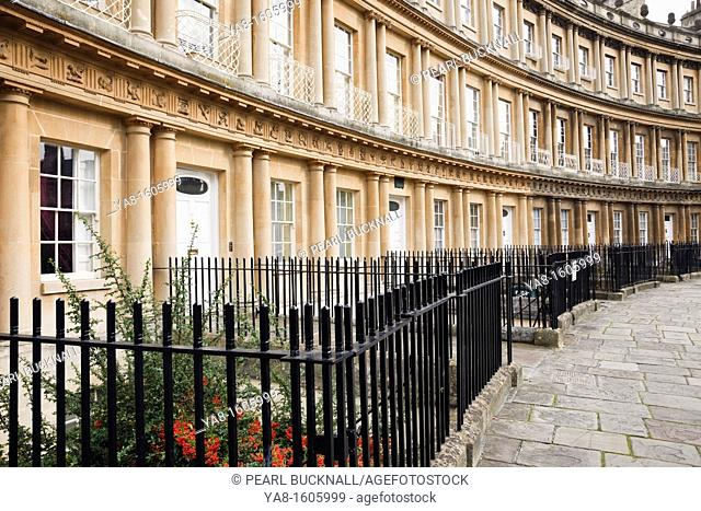 The Circus, Bath, Somerset, England, UK, Britain, Europe  18th century crescent with curved Georgian terraced town houses with metal railings in front