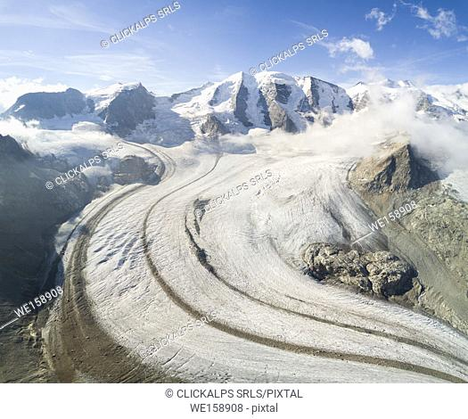 Panoramic aerial view of the Diavolezza and Pers glaciers, St. Moritz, canton of Graubünden, Engadine, Switzerland