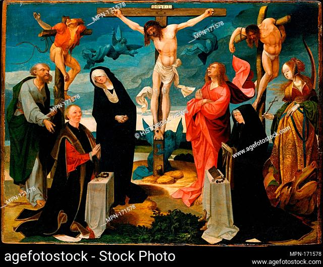 The Crucifixion with Donors and Saints Peter and Margaret. Artist: Cornelis Engebrechtsz (Netherlandish, ca. 1461-1527); Date: ca