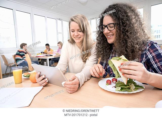 University students having lunch in canteen, Bavaria, Germany