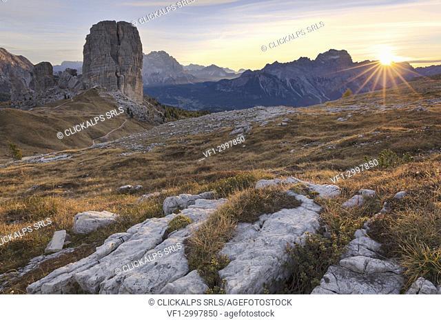 The Cinque Torri (Five Towers) at sunrise, Dolomites, Belluno, Veneto, Italy