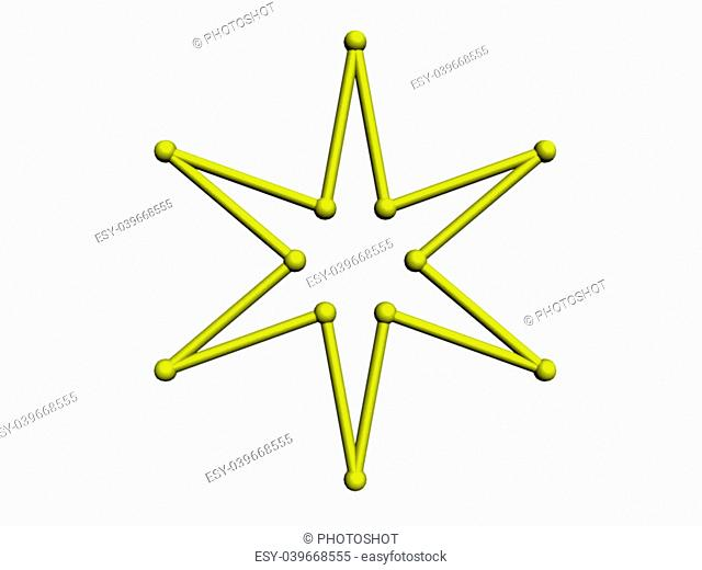 An illustration of a 6-pointed star on a white background
