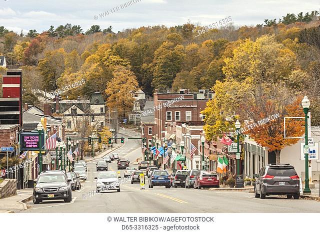 USA, Maine, Ellsworth, downtown along US Rt. 1, autumn