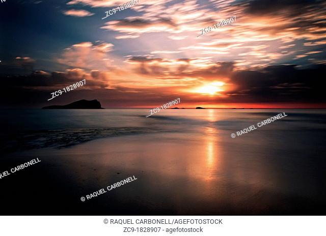 Sunset in Cala Comte beach Ibiza, Balearic Islands, Spain