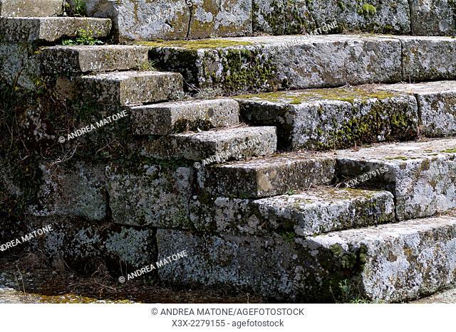 Amphitheater detail. Tuscolo. Archeological park. Tusculum. Castelli romani, Italy