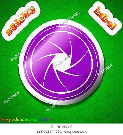 diaphragm icon sign. Symbol chic colored sticky label on green background. Vector illustration