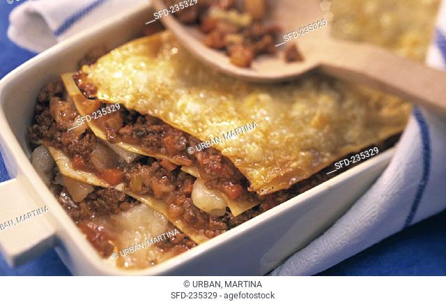 Lasagne with minced lamb in baking dish