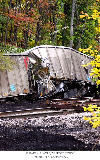 derailed and damaged railroad cars and spilled coal next to railroad track, Monroe County, Indiana