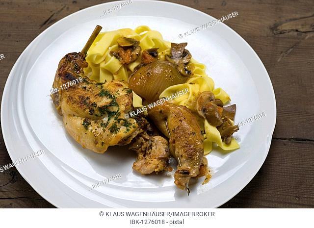 Braised rabbit with ribbon noodles