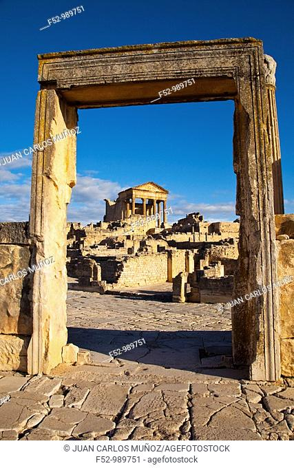 Capitol. Roman City of Dougga. Tunisia. Africa