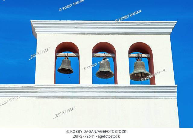 Church bells of The San Francisco church in Granada Nicaragua. The facade of the building is neoclassical and the interior is romantical