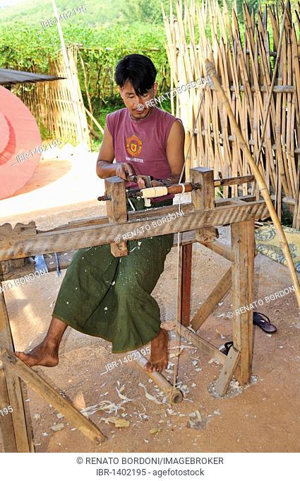 Craftsmen, making paper umbrellas, Burma, Myanmar, Southeast Asia