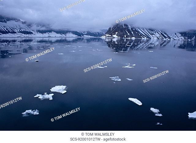 High arctic at midnight Svalbard / Spitsbergen