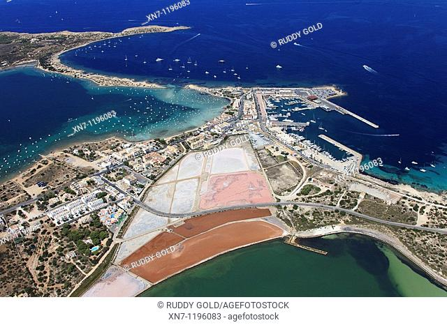 Es Savina harbor, Des Peix lagoon on the middle left and Pudent lagoon at botton, Formentera, Balearic Islands, Spain